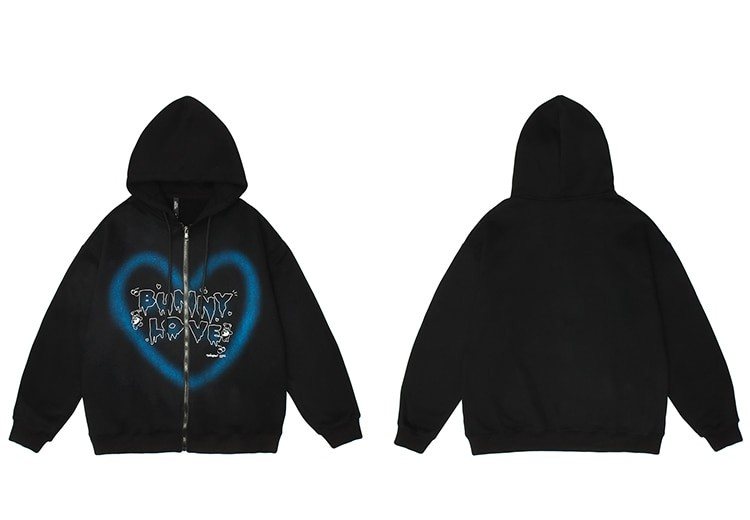 E-girl Y2K Harajuku Hoodie with Graffiti Heart and Letters Print 43