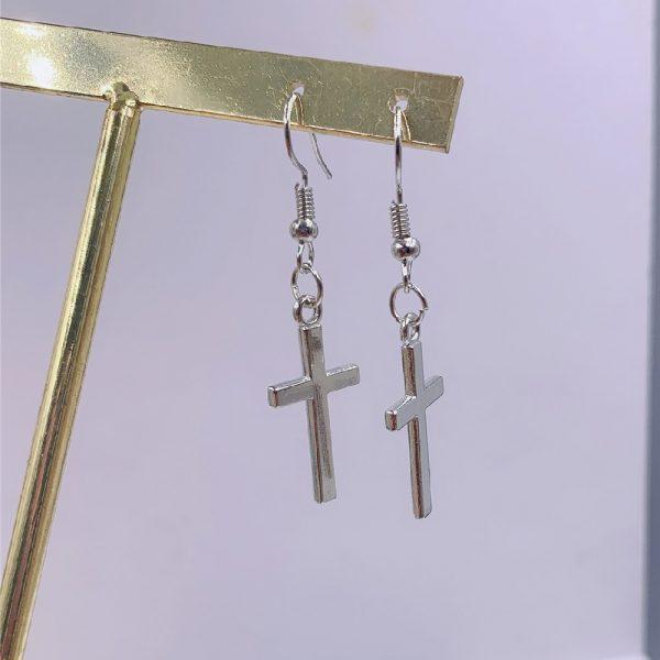 E-girl E-boy Gothic Punk Cross Pendant Drop Dangle Earrings 5