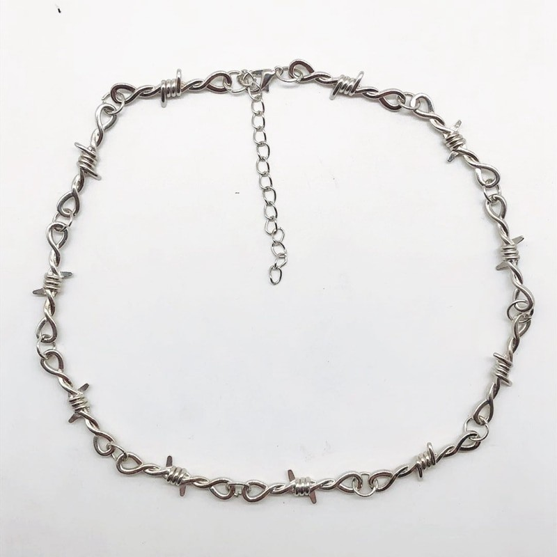 E-girl E-boy Gothiс Punk Necklace with Blades and Barbed Wire 44