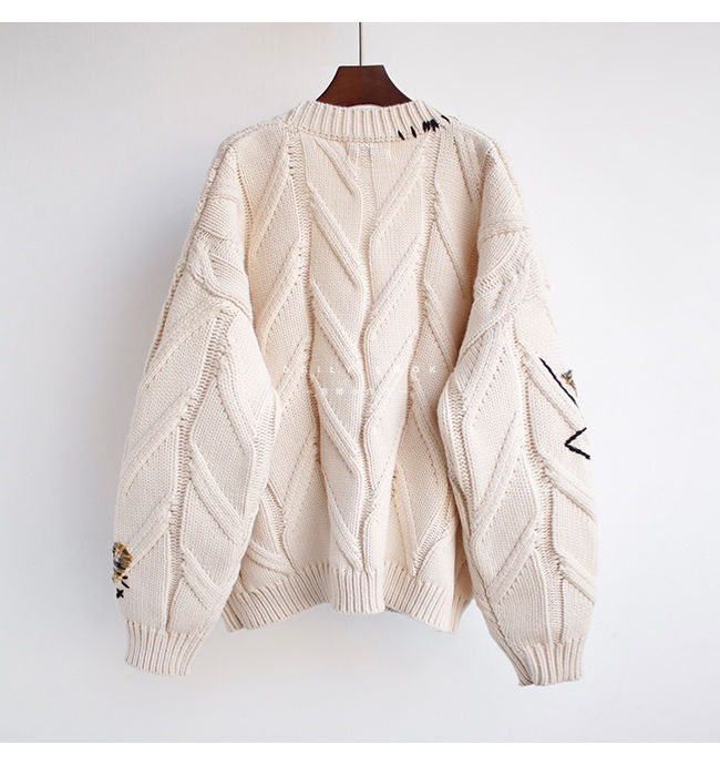 Harajuku Y2K  Cottagecore Loose Knitted Cardigan with Pockets and Embroidery 43