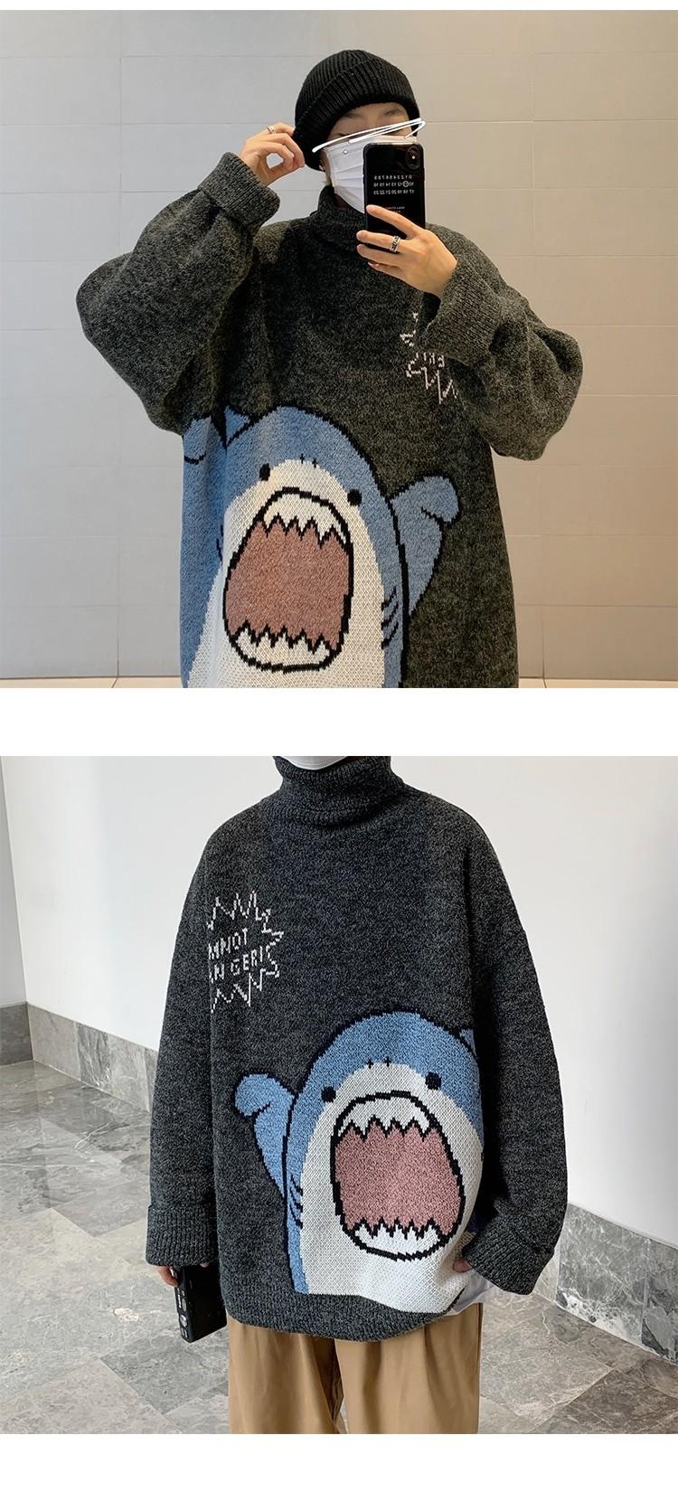 Harajuku E-boy E-girl Turtlenecks Oversized Shark Sweater 44