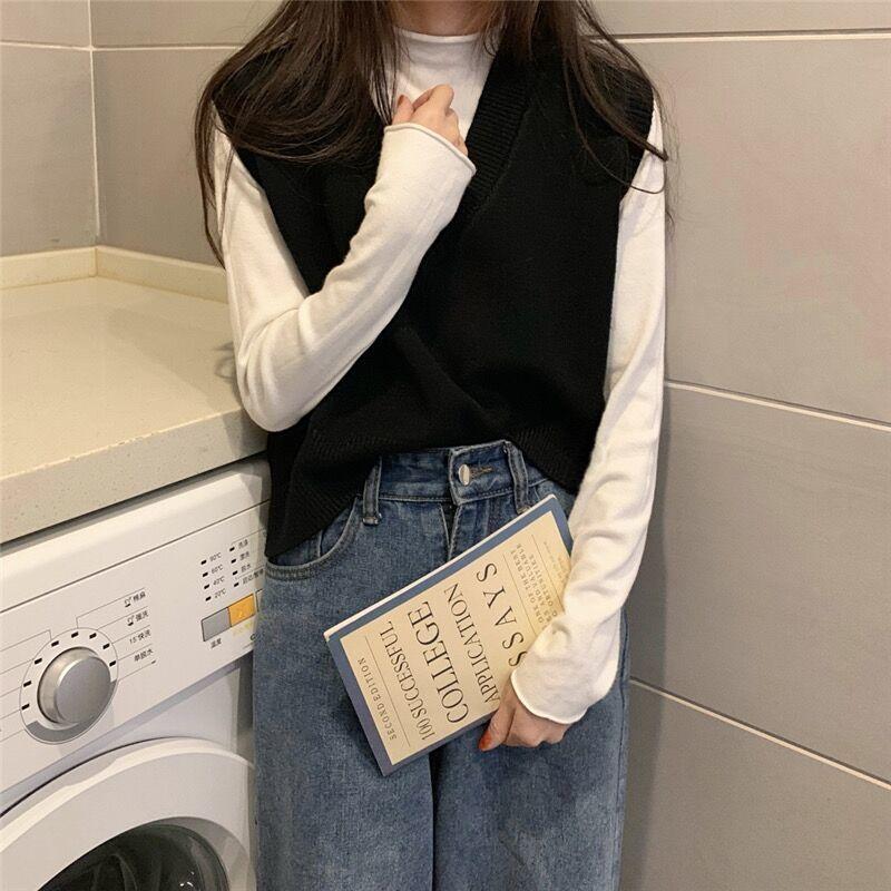 Soft Girl E-girl Harajuku Knitted V-Neck Sleeveless Vest 53
