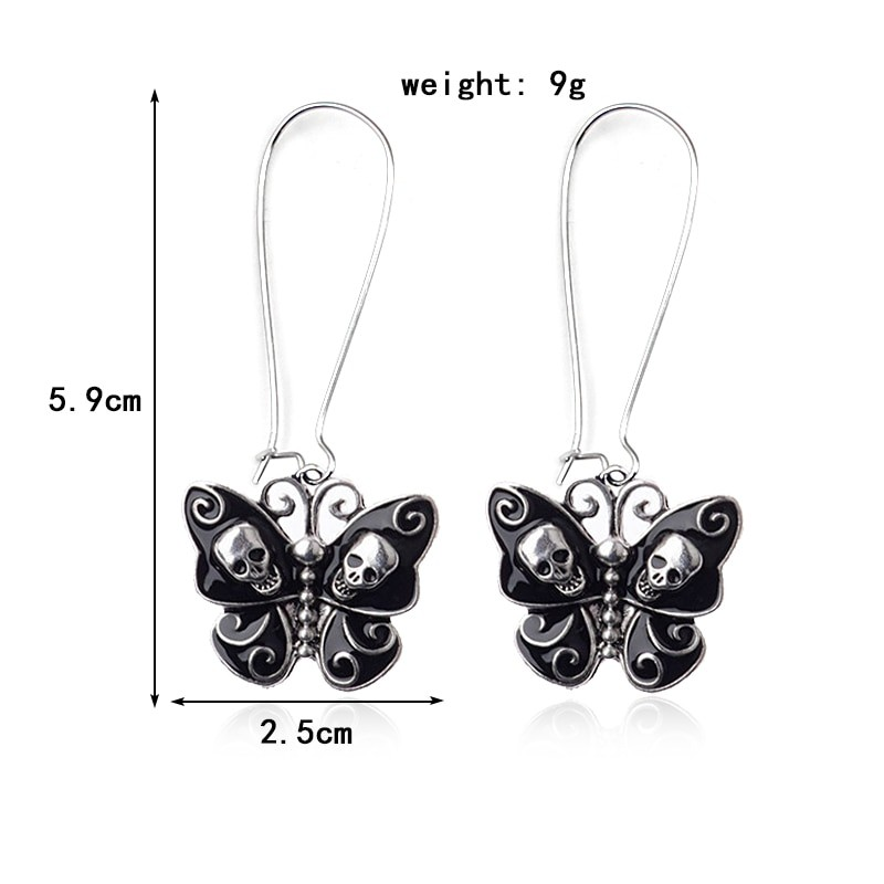 E-girl Gothic Punk Black Butterfly Wings Inlaid With Skulls 41