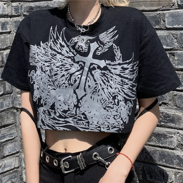 E-girl Gothic Punk Crop Top with gothic print 2