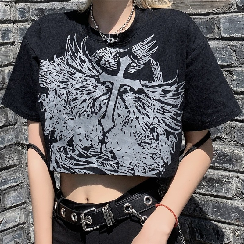 E-girl Gothic Punk Crop Top with gothic print 41