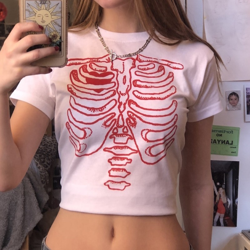 Punk E-girl Gothic Crop top with skeleton print 45