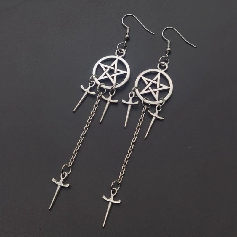 Gothic E-girl E-boy Punk Pentagram Swords Earrings 45