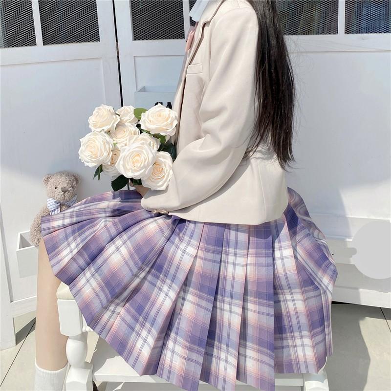 Harajuku E-girl Soft girl Pleated A-Line Plaid Skirts 59
