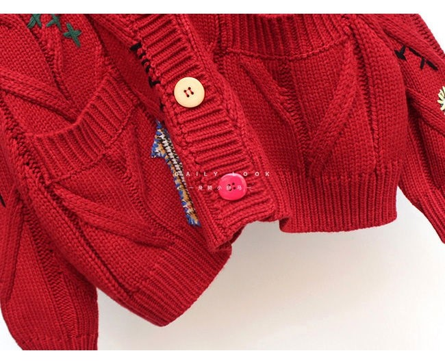 Harajuku Y2K  Cottagecore Loose Knitted Cardigan with Pockets and Embroidery 54