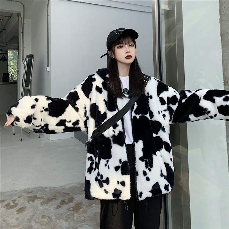 Harajuku E-girl Loose Coat with Cows Printing 41