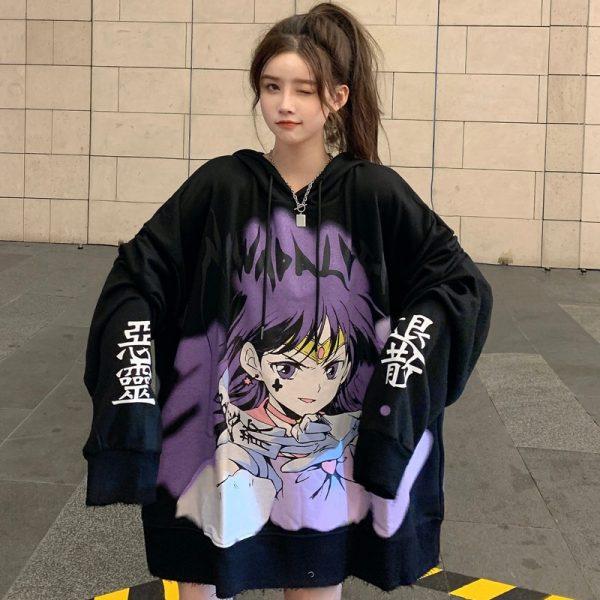 E-girl E-boy Harajuku Anime Cute Girl Oversized Hooded Sweatshirt 5