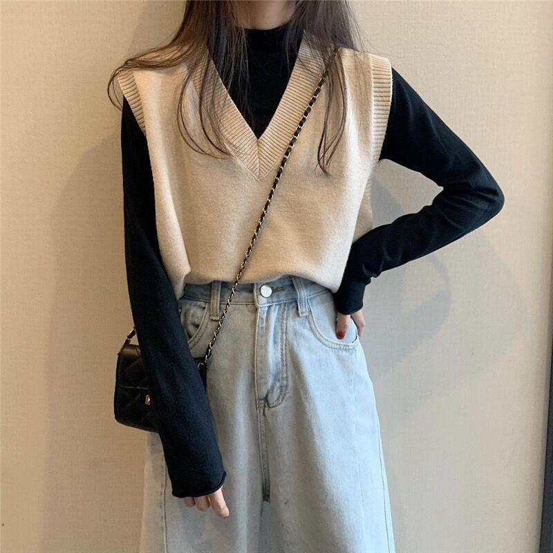 Soft Girl E-girl Harajuku Knitted V-Neck Sleeveless Vest 46