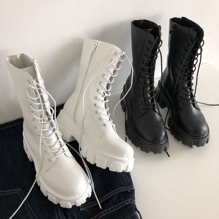 E-girl Gothic Punk Mid Calf Boots 49
