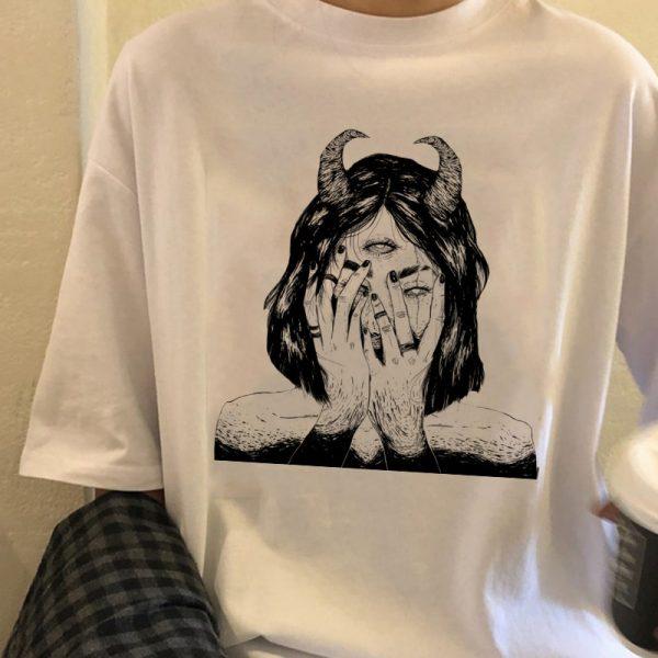 E-girl E-boy Gothic Punk T-shirt with Demon print 1