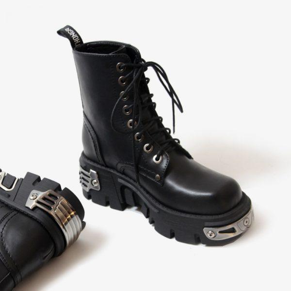 Egirl Punk Style Platform Chunky Shoes with Metal Decor 5