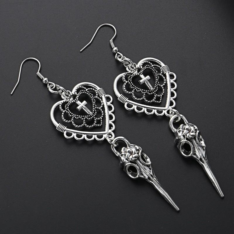 E-girl Gothic Punk Heart Cross and Bird Skull Earrings 41