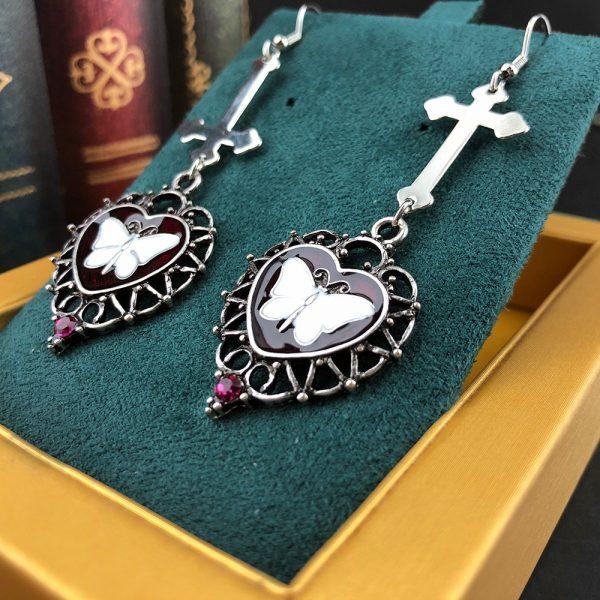 E-girl Goth Butterfly Earrings with Cross & Heart 3