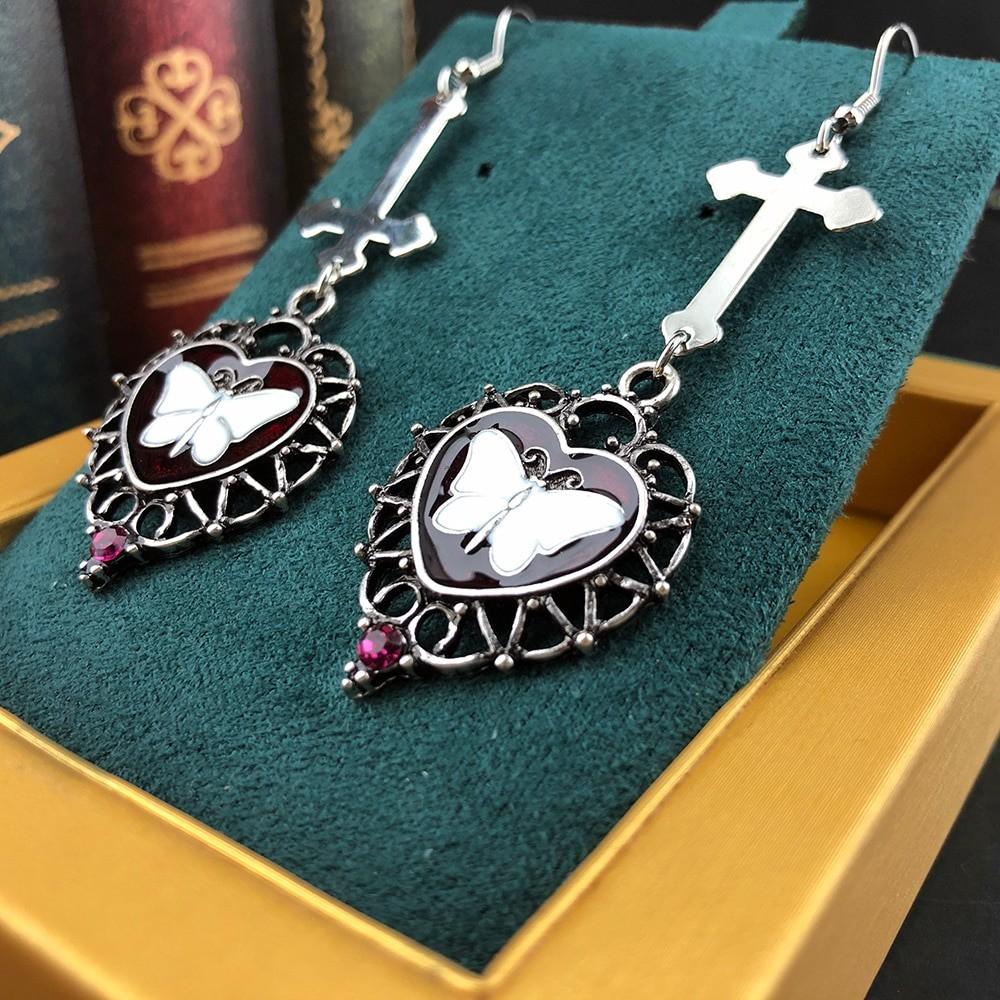 E-girl Goth Butterfly Earrings with Cross & Heart 43