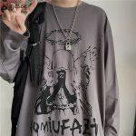 E-boy E-girl Punk Gothic Long Sleeve T-shirts  with Angel print 1