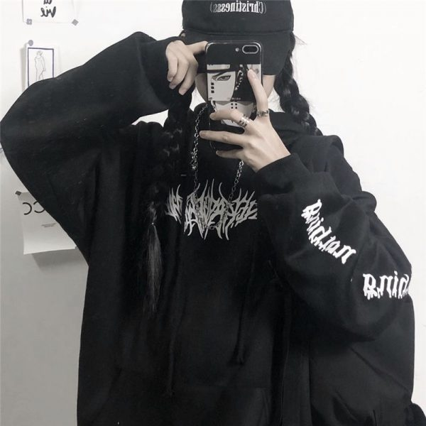 Harajuku Gothic E-girl Loose Hoodie with gothic print 6