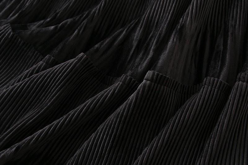 Harajuku Vintage Long Velvet Pleated Skirts 56