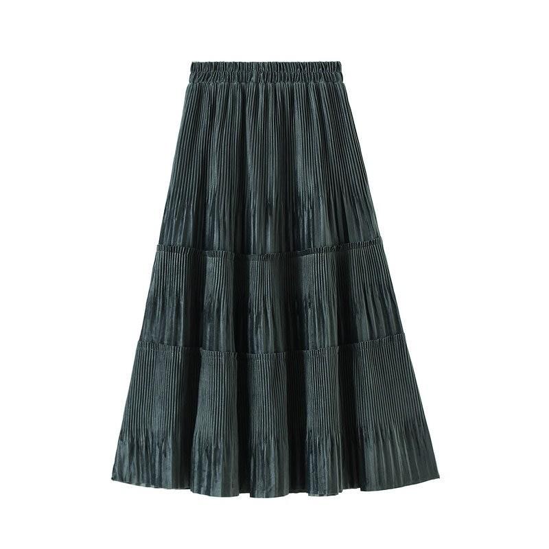 Harajuku Vintage Long Velvet Pleated Skirts 51