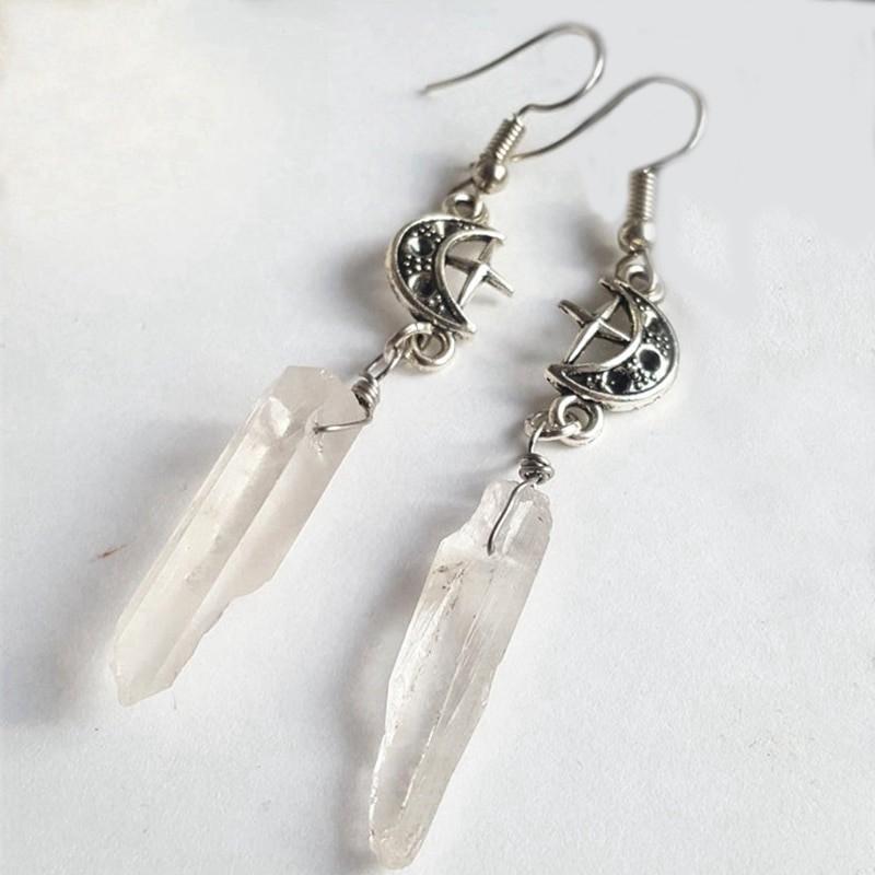 E-girl E-boy Gothic Clear Quartz and Crescent Moon Earrings 40