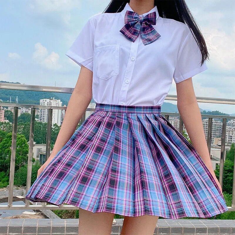 Harajuku E-girl Soft girl Pleated A-Line Plaid Skirts 50
