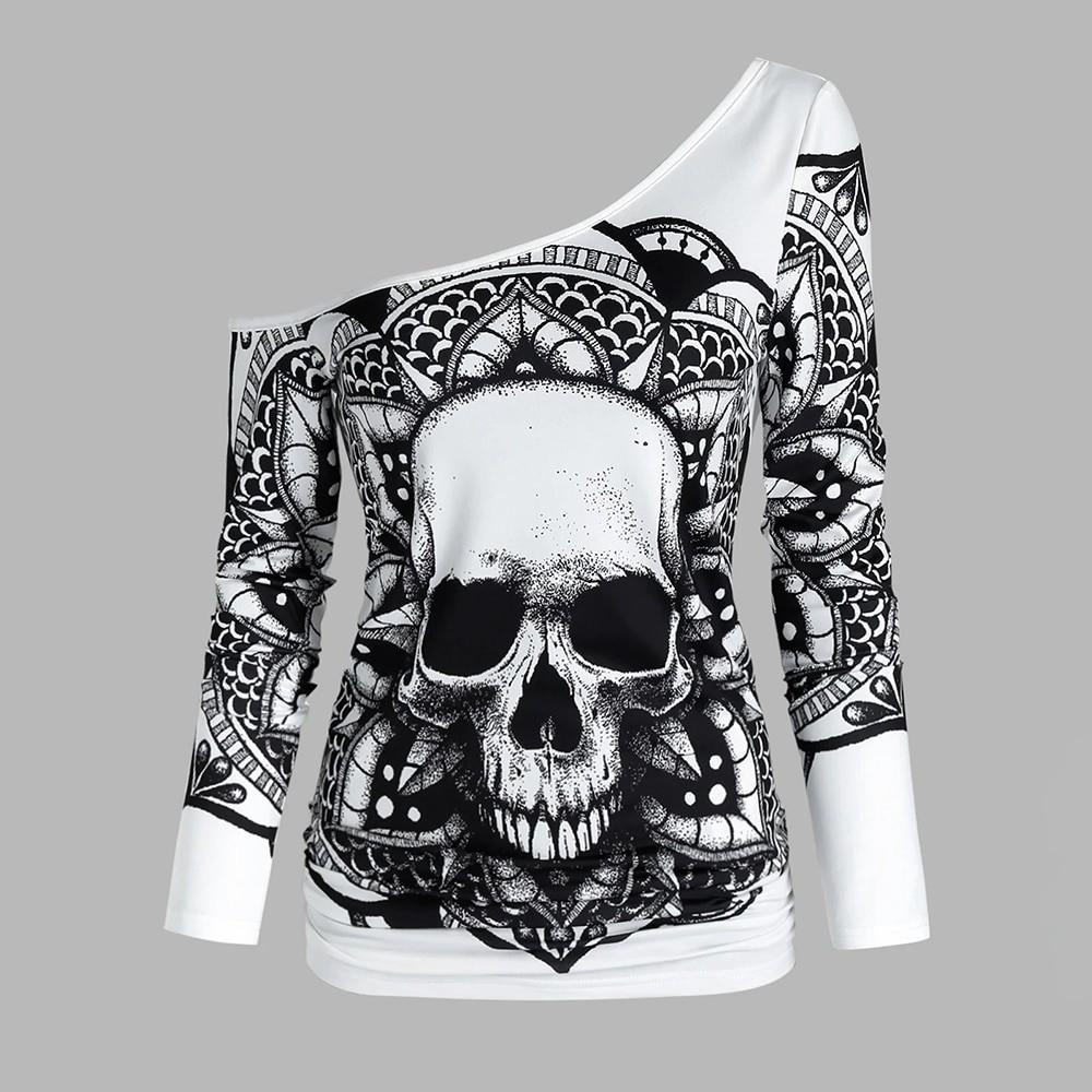 E-girl Gothic Punk Y2K Off Shoulder T-Shirt with Skull print 42