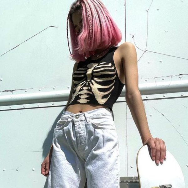 E-girl Gothic Punk Y2K Aesthetic Crop Top  with skeleton print 16
