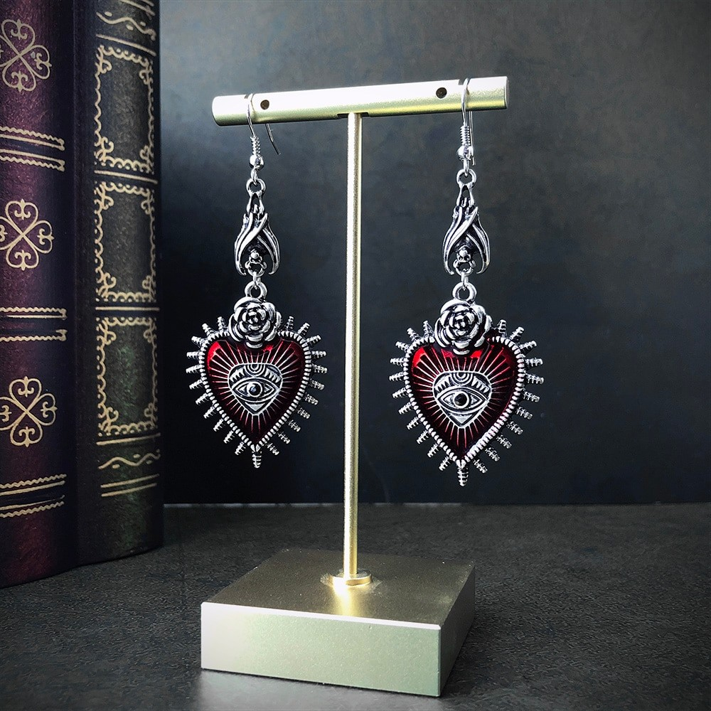 E-girl E-boy Gothic Occult Dark Drop Earring with Blood Rose Heart 41