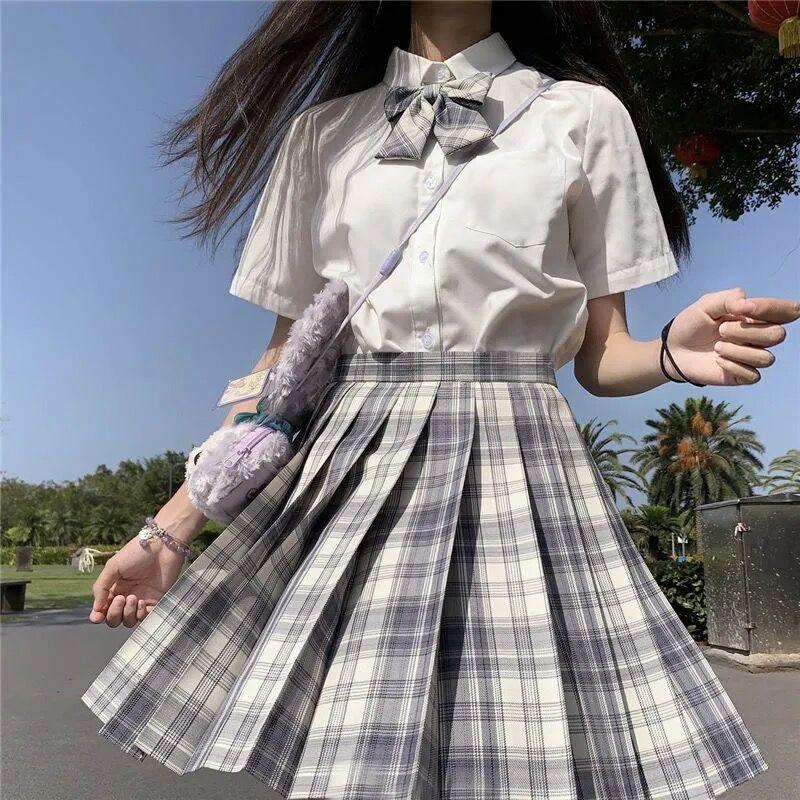 Harajuku E-girl Soft girl Pleated A-Line Plaid Skirts 64
