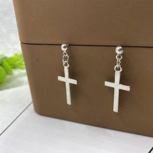 E-girl E-boy Gothic Punk Cross Pendant Drop Dangle Earrings 1