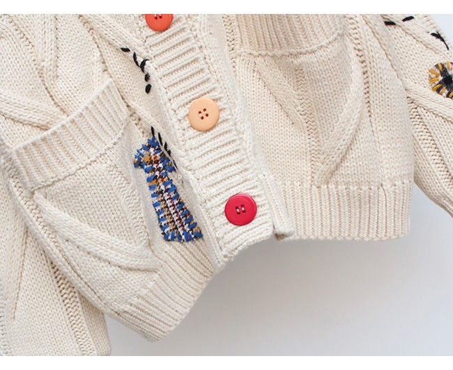 Harajuku Y2K  Cottagecore Loose Knitted Cardigan with Pockets and Embroidery 47