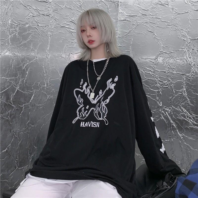 E-girl Gothic Punk Harajuku T-shirt with butterflies print 48