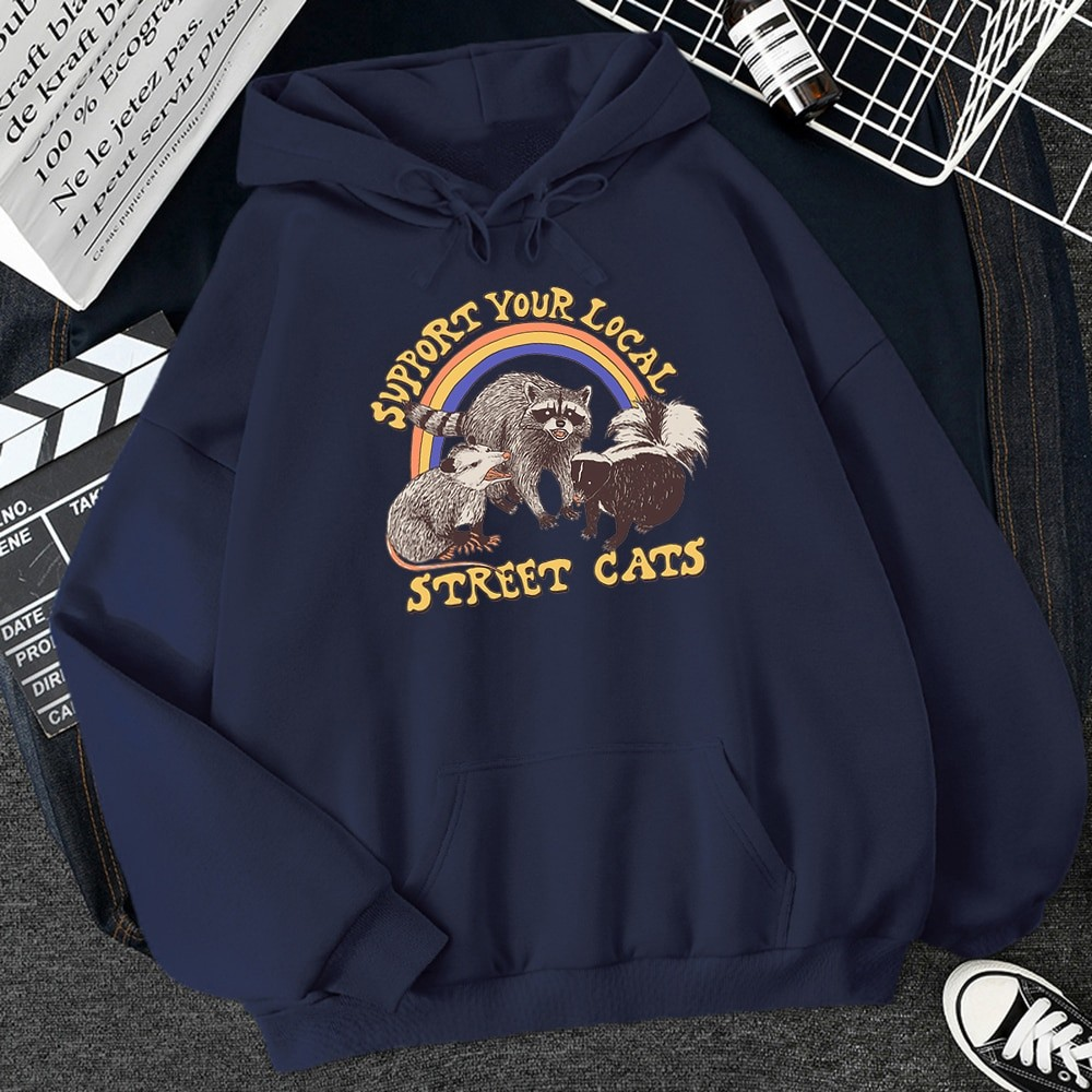 E-girl E-boy Harajuku Hoodie with Support Your Local Street Cats Print 51