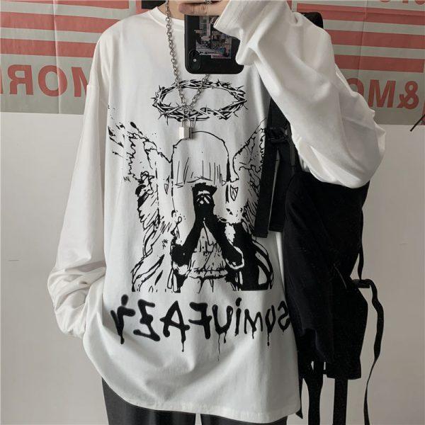 E-boy E-girl Punk Gothic Long Sleeve T-shirts  with Angel print 3