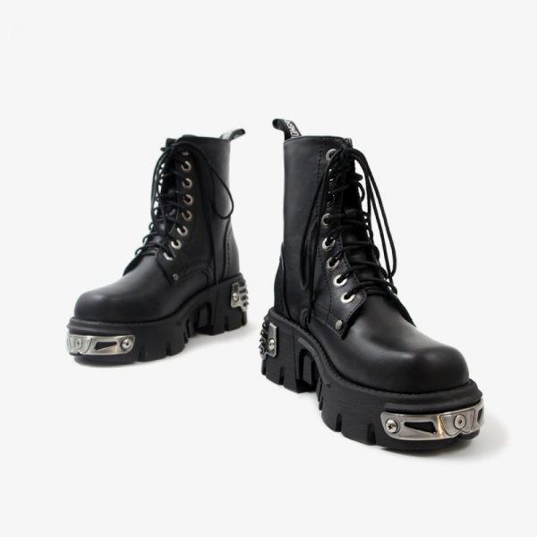 Egirl Punk Style Platform Chunky Shoes with Metal Decor 3