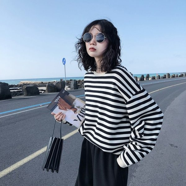 Harajuku E-girl Grunge striped cotton Sweatshirt 4