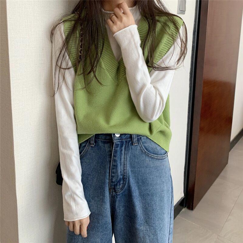 Soft Girl E-girl Harajuku Knitted V-Neck Sleeveless Vest 48