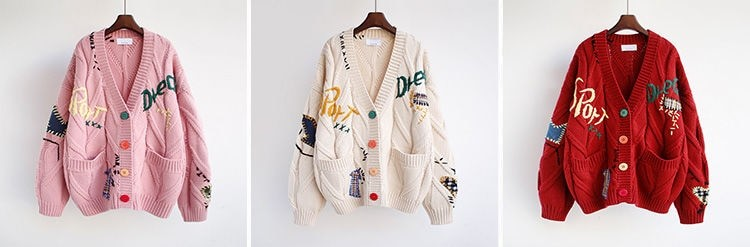 Harajuku Y2K  Cottagecore Loose Knitted Cardigan with Pockets and Embroidery 41