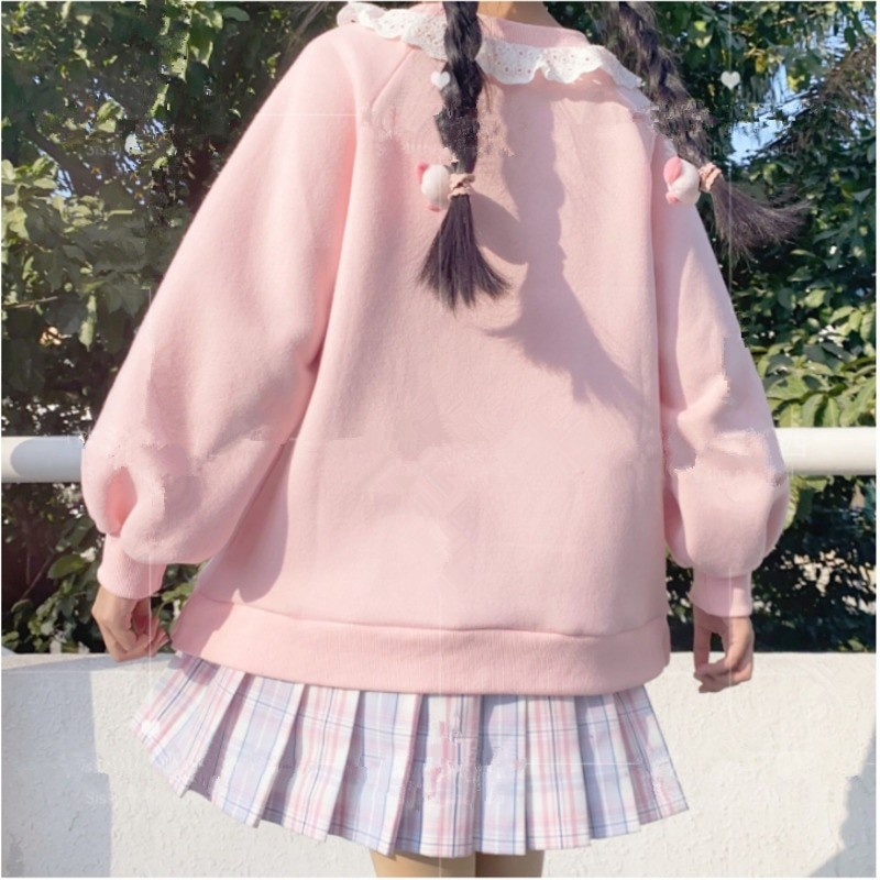 Harajuku Soft girl  Cute Pullover Lamb And Candy Embroidery 43