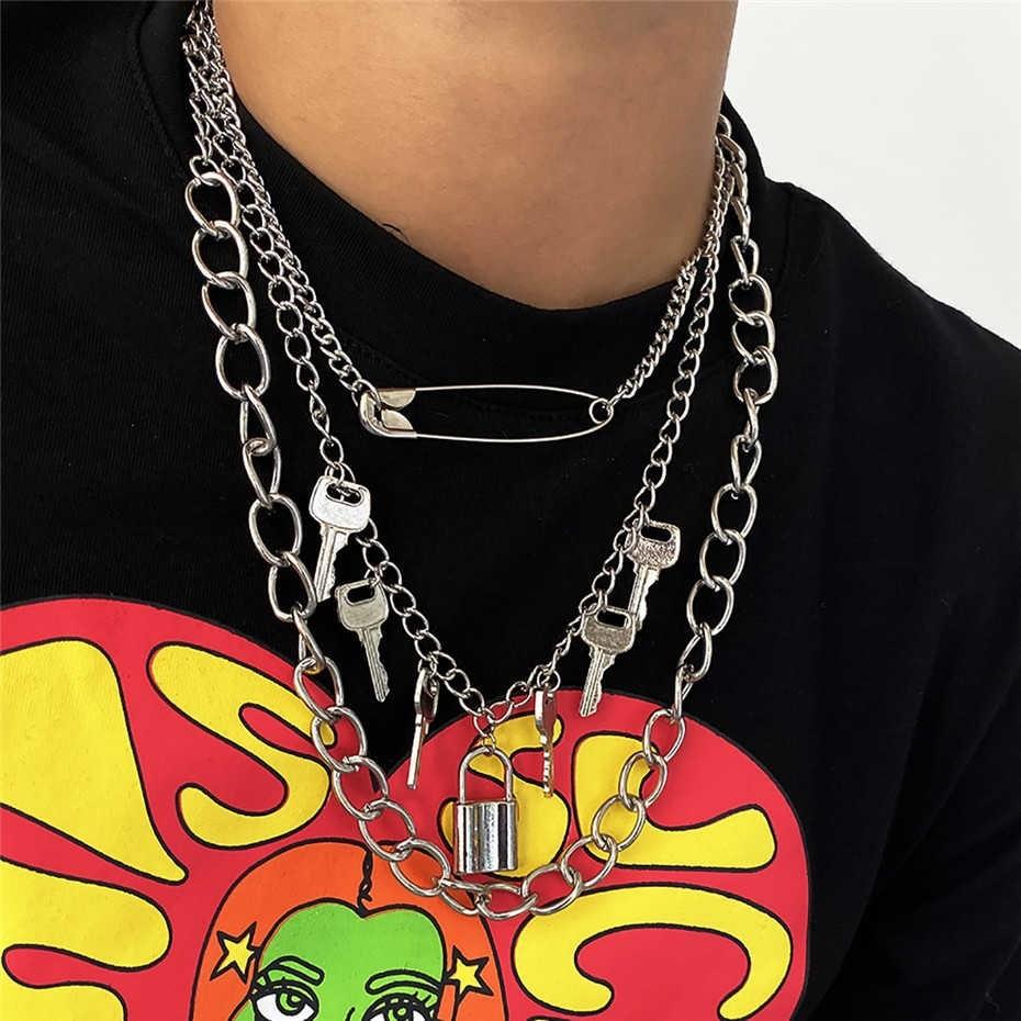 E-girl E-boy Punk Gothic Big Lock Key Angel Pendant Necklace 42
