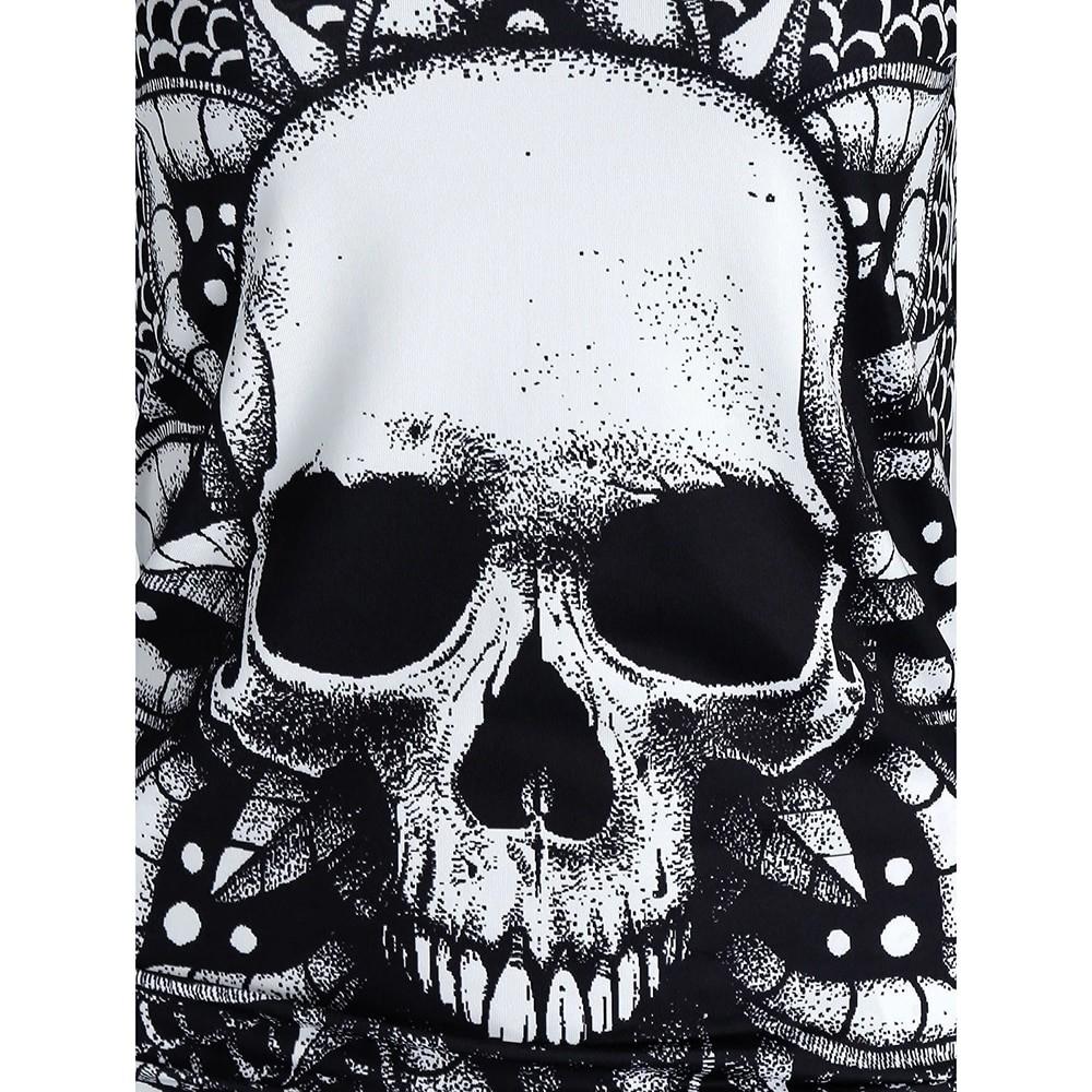 E-girl Gothic Punk Y2K Off Shoulder T-Shirt with Skull print 45