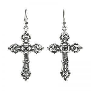 E-girl E-boy Gothic Punk Big Cross Dangle Drop Earrings 3