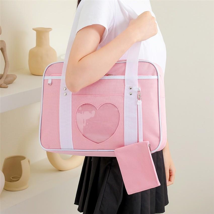 Soft Girl Egirl Harajuku Canvas Large Handbags 42