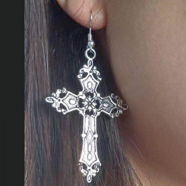 E-girl E-boy Gothic Punk Big Cross Dangle Drop Earrings 6