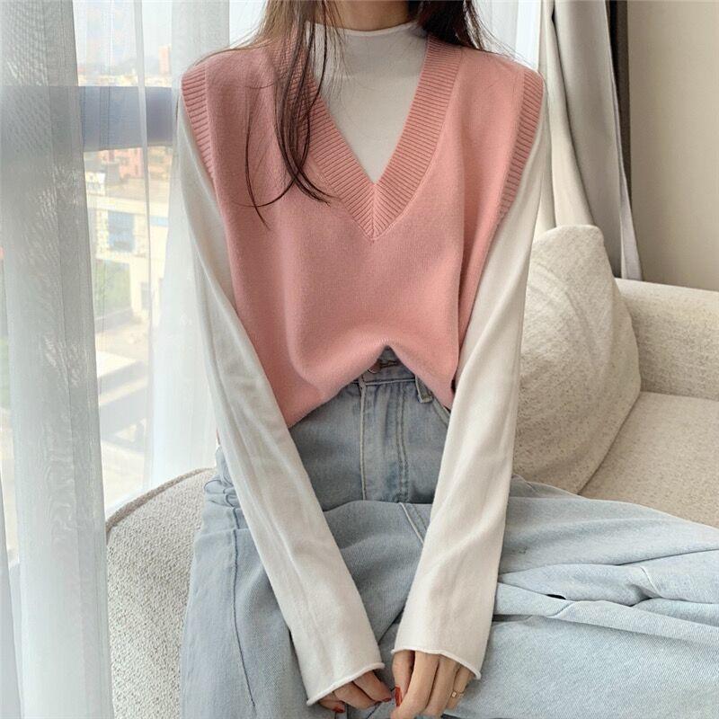 Soft Girl E-girl Harajuku Knitted V-Neck Sleeveless Vest 60