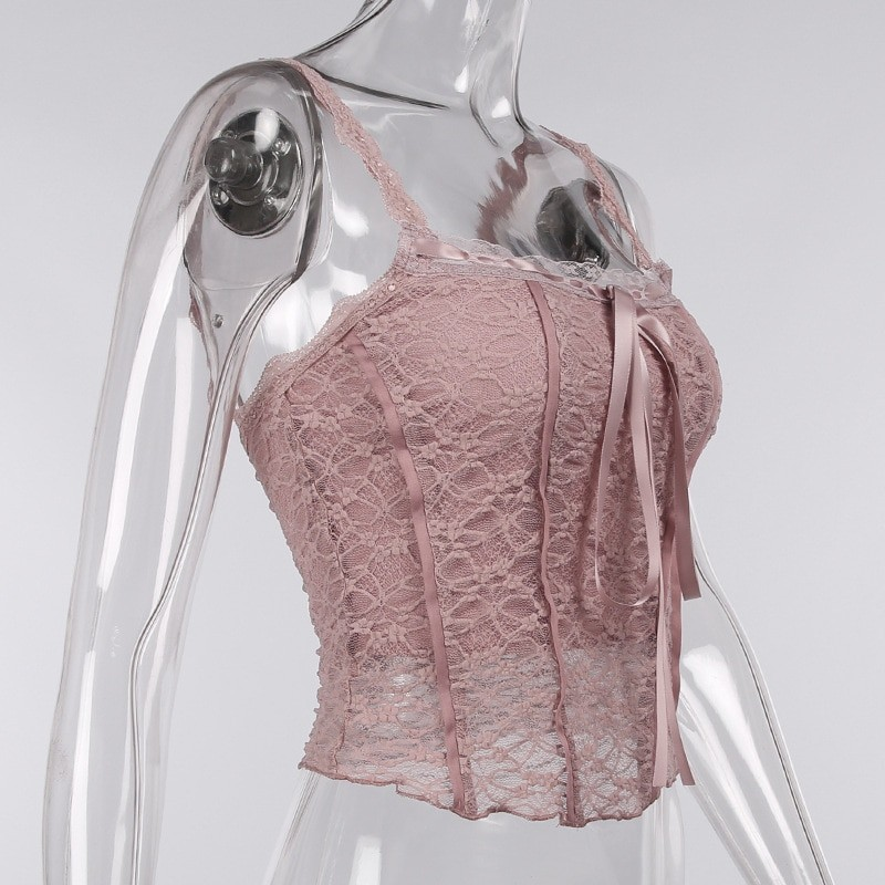 E-girl Soft girl Y2K Retro Bow Lace Top 62