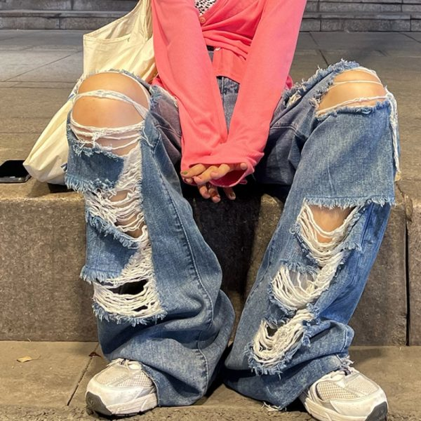 Harajuku Y2K Loose Ripped jeans with high waist 4